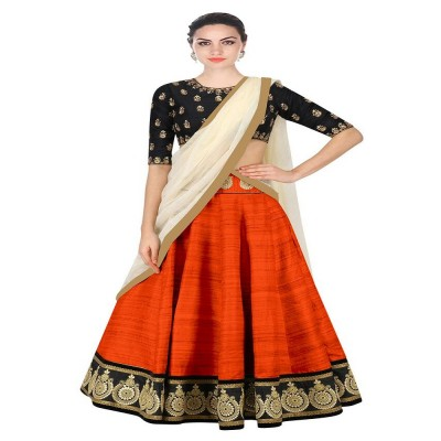 js fashion Orange Banglori Silk Embroidered Un-Stitched Lehenga Choli