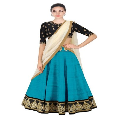 js fashion Blue Banglori Silk Embroidered Un-Stitched Lehenga Choli