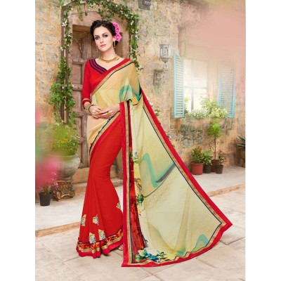js fashion Multi Colour Georgette Embroidered Saree