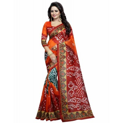 js fashion Orange Bhagalpuri Printed Saree