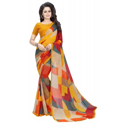 js fashion Multi Colour Chiffon Printed Saree