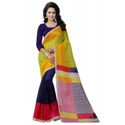 js fashion Multi Colour Banglori Silk Printed Saree