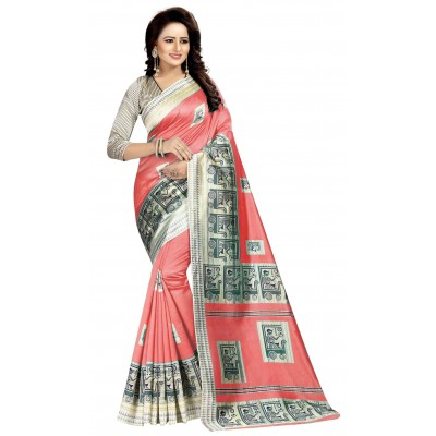 js fashion Pink Art Silk Printed Saree