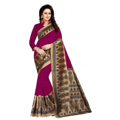 js fashion Pink Art Silk Printed Saree