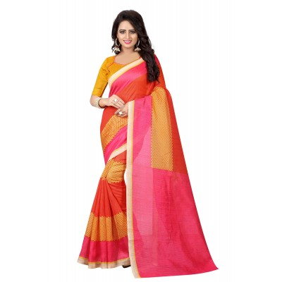 js fashion Pink & Cream Banglori Silk Printed Saree
