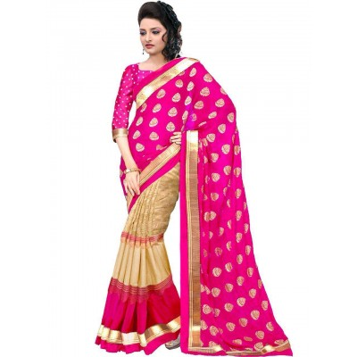 js fashion Pink Bhagalpuri Printed Saree