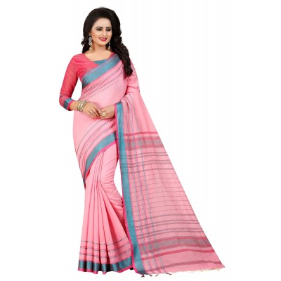 js fashion Pink Cotton Silk Jacquard designed Saree