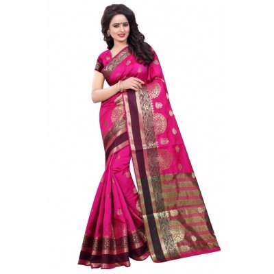 js fashion Pink Cotton Silk Printed Saree