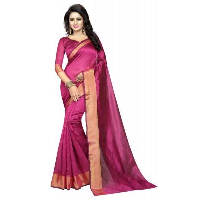 js fashion Pink Cotton Silk Printed Saree