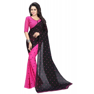 js fashion Pink Georgette Printed Saree