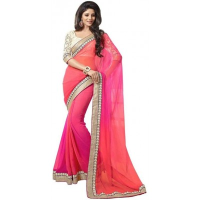 js fashion Pink Net Embroidered Saree