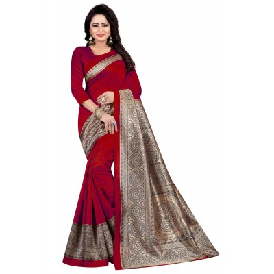js fashion Red Art Silk Printed Saree