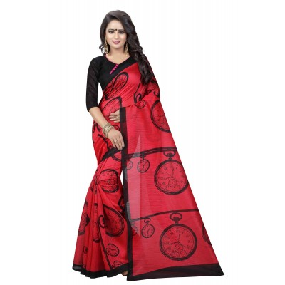 js fashion Red Banglori Silk Printed Saree