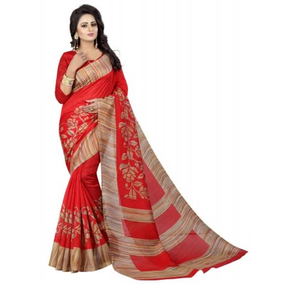js fashion Red Bhagalpuri Printed Saree