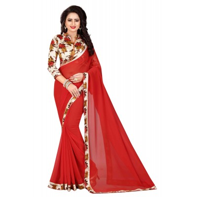 js fashion Red Chiffon Printed Saree