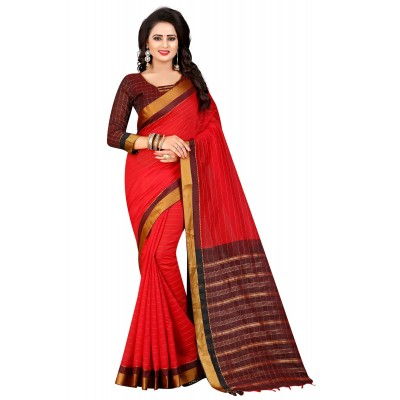 js fashion Red Cotton Silk Jacquard designed Saree