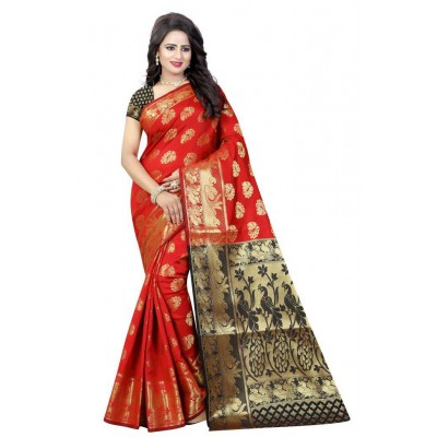 js fashion Red Cotton Silk Printed Saree