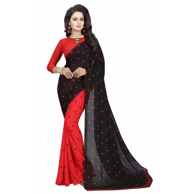 js fashion Red Georgette Printed Saree