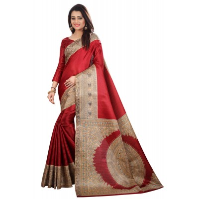 js fashion Red Silk Printed Saree