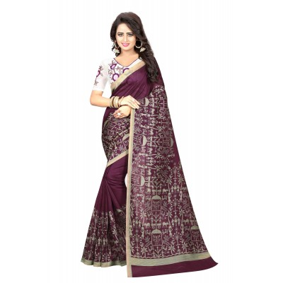 js fashion Violet Bhagalpuri Embroidered Saree