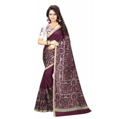 js fashion Violet Bhagalpuri Embroidered Saree