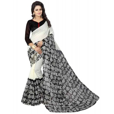 js fashion White Bhagalpuri Printed Saree