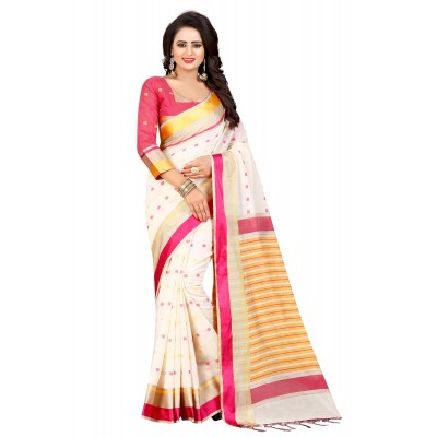 js fashion White Cotton Silk Jacquard designed Saree