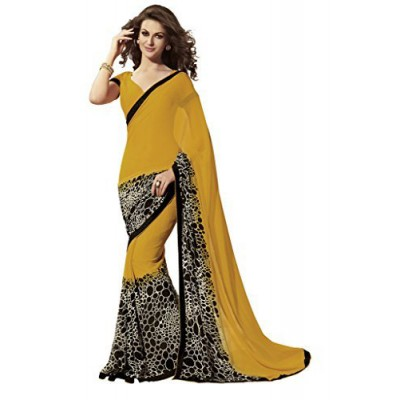 js fashion Yellow Georgette Printed Saree