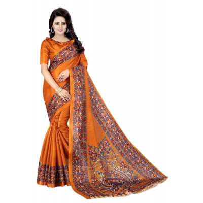 js fashion Yellow Silk Printed Saree