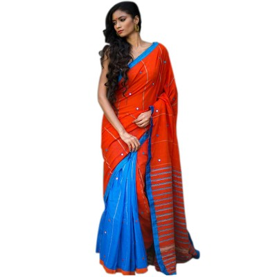 Bengal Art work Orange Cotton Khes Mirror Worked Saree