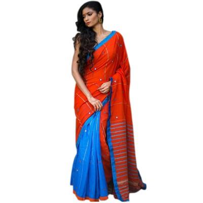Bengal Art work Orange Cotton Khes Mirror Worked Saree