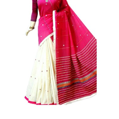 Bengal Art work Magenta Cotton Khes Mirror Worked Saree