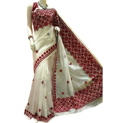 Bengal Art work White Bangladesh Tant Kachi Stitched Saree
