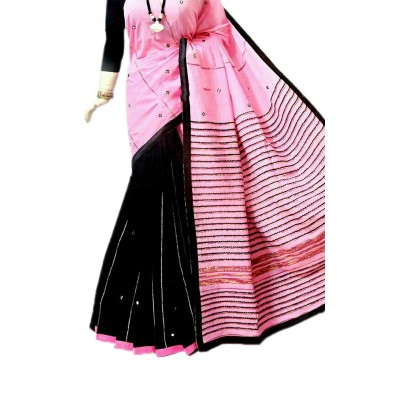Bengal Art work Pink Cotton Khes Mirror Worked Saree