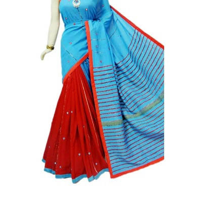 Bengal Art work Blue Cotton Khes Mirror Worked Saree