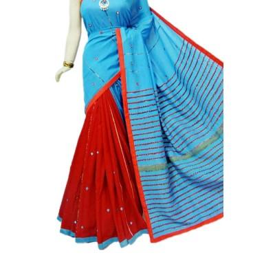Bengal Art work Blue Cotton Khes Mirror Worked Saree