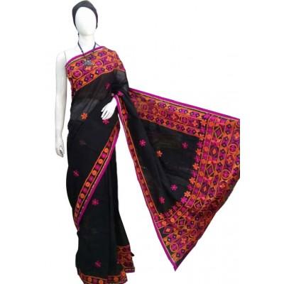 Bengal Art work Black Bangladesh Tant Kachi Stitched Saree