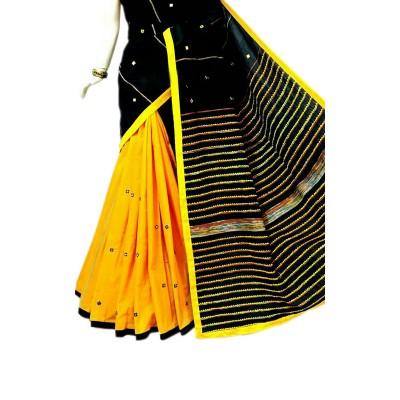 Bengal Art work Black Cotton Khes Mirror Worked Saree