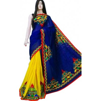 Bengal Art work Blue Bangladesh Tant Kachi Stitched Saree