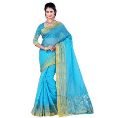 Bengal Art work Blue Cotton Khes Gurjari Saree