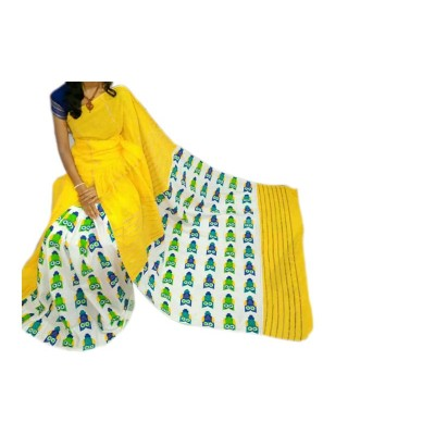 Bengal Art work Saree Yellow Cotton Khes Gurjari Saree