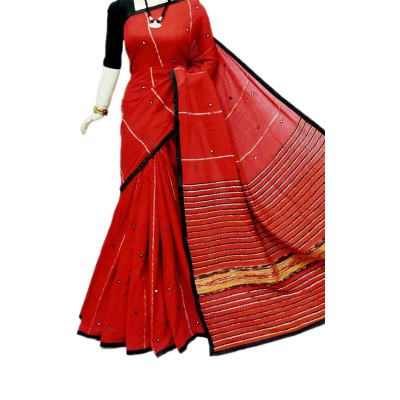 Bengal Art work Red Cotton Khes Mirror Worked Saree