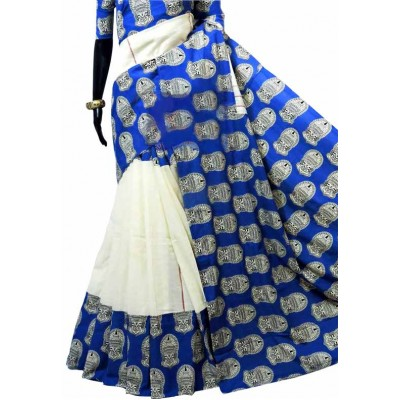 Bengal Art work White Khes Kathakali Printed Saree