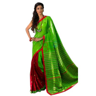 Bengal Art work Green Cotton Khes Mirror Worked Saree