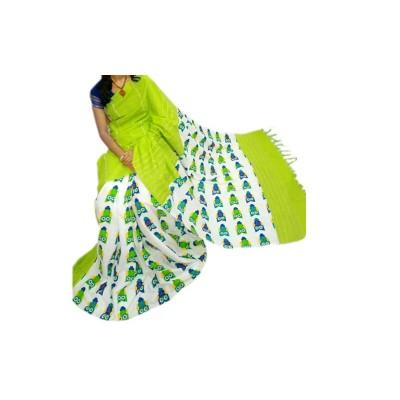 Bengal Art work Light Green Cotton Khes Gurjari Saree