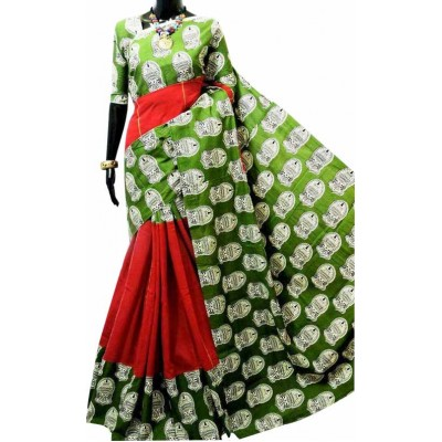 Bengal Art work Red Khes Kathakali Printed Saree
