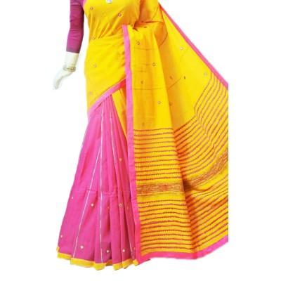 Bengal Art work Yellow Cotton Khes Mirror Worked Saree