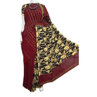 Bengal Art work Brown Cotton Khes Gurjari Saree