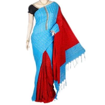 Bengal Art work Blue & Red Cotton Kundan Worked Saree