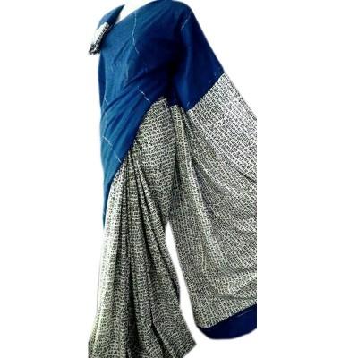 Bengal Art work Navy Blue Cotton Khes Gurjari Saree